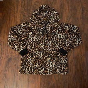 NEW Victoria's Secret PINK Sherpa Hoodie Leopard!
